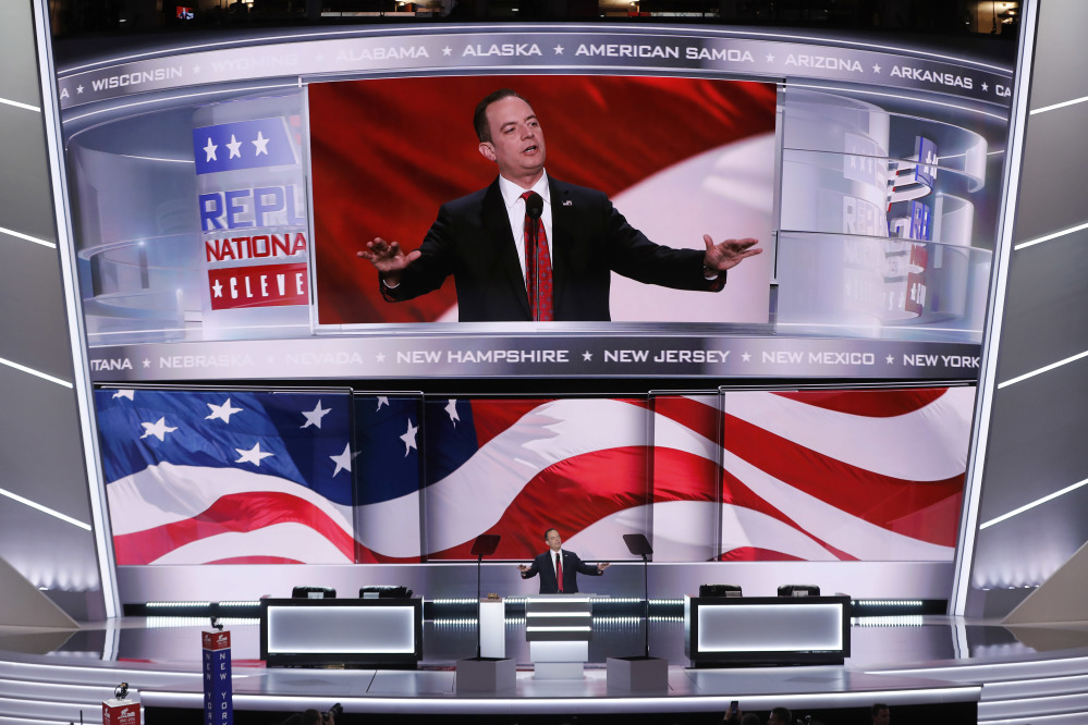 Reince Priebus, Chairman of the Republican National Committee, announces the rules of the convention during the opening day of the Republican National Convention in Cleveland, Monday, July 18, 2016.