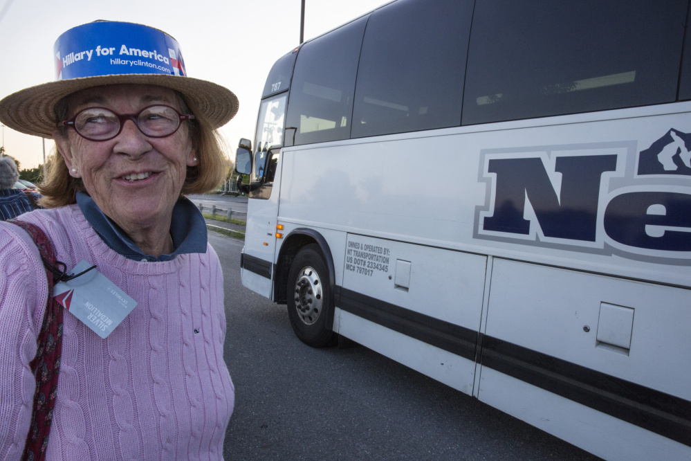 Margaret Hannah, a delegate for Hillary Clinton from Blue Hill, prepares to board a bus to the 2016 Democratic National Convention in Philadelphia early Sunday. Michele McDonald/Staff Photographer