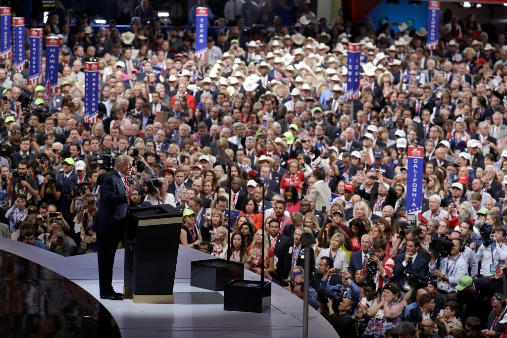 Donald Trump addresses the crowd of delegates Thursday night at the Republican National Convention in Cleveland.