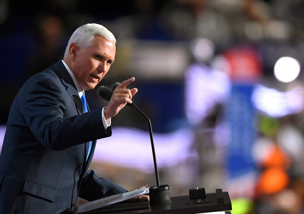 Republican vice presidential candidate Mike Pence of Indiana gives his convention speech at the Republican Convention on July 20. Mark J. Terrill/Associated Press/