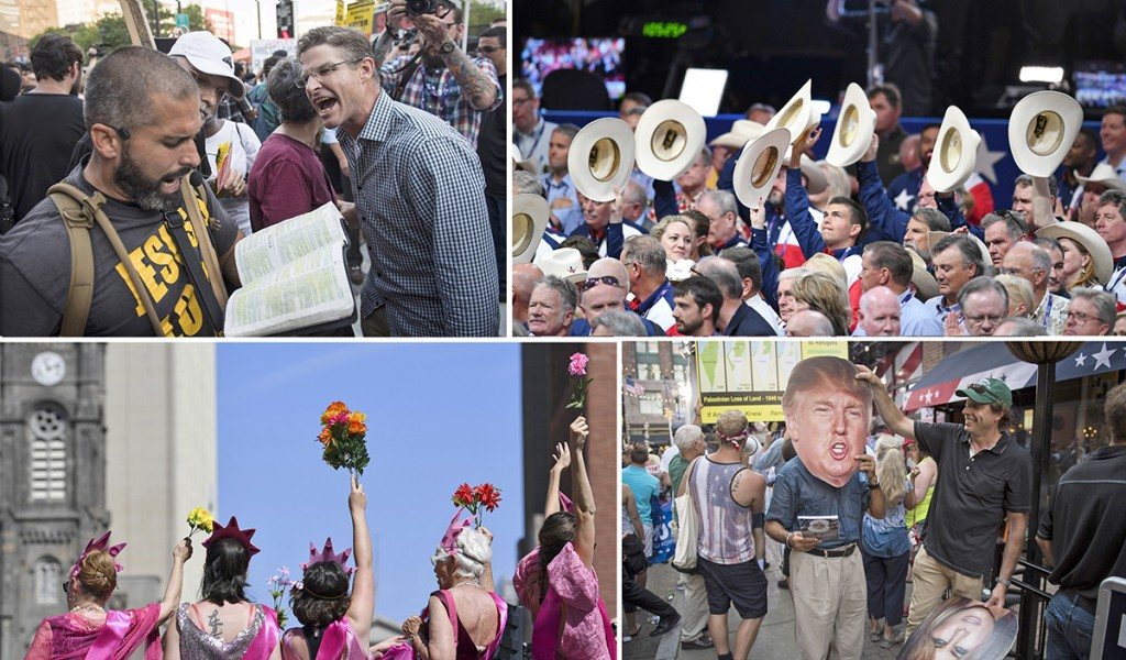 Clockwise from upper left: A man yells at an evangelical outside Quicken Loans Arena, site of the Republican National Convention (Washington Post photo by Jabin Botsford); Convention goers, including Texans, raise their hats during the opening day of the convention (Washington Post photo by Toni L. Sandys); People try out cutouts of the Trumps in the background of a television shot on Fourth Street (Washington Post photo by Jabin Botsford); A protest on the streets of Cleveland (Washington Post photo by Ricky Carioti).