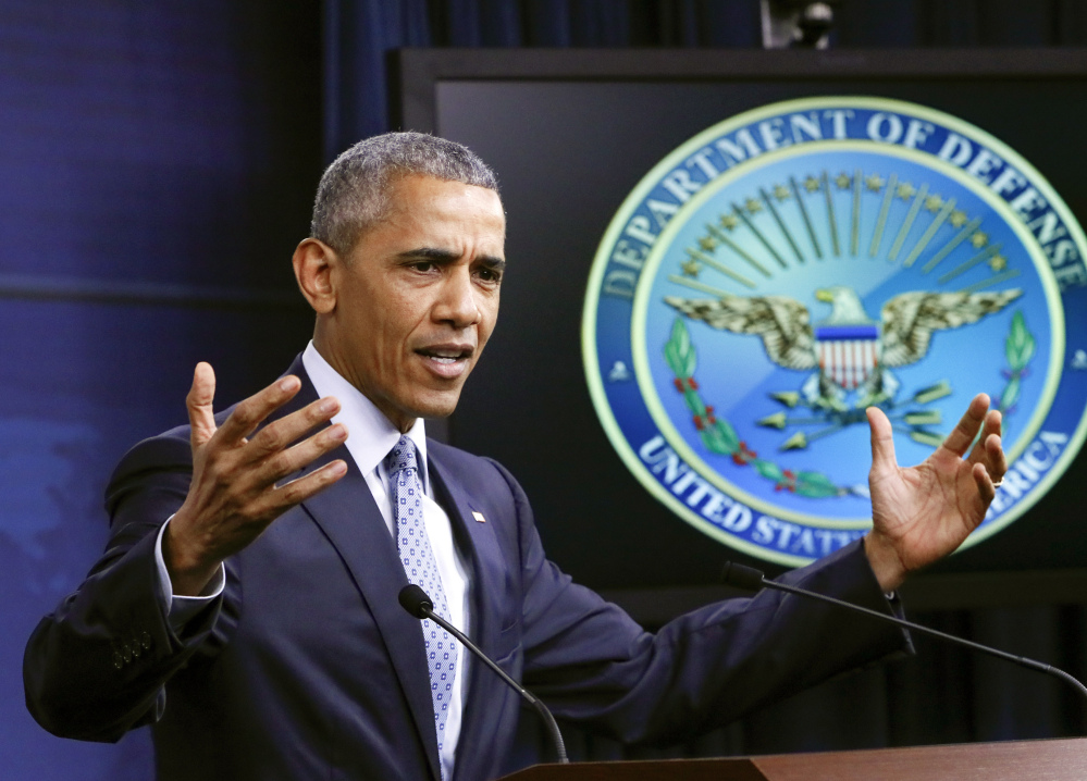 President Obama, in Washington on Thursday, talks about the fight against terrorism. He asked the press to