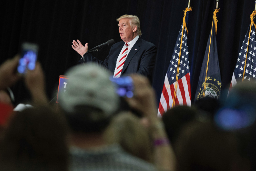 Republican Donald Trump focused personal attacks against Democratic rival Hillary Clinton in Windham, N.H. Saturday, including questioning her mental health.