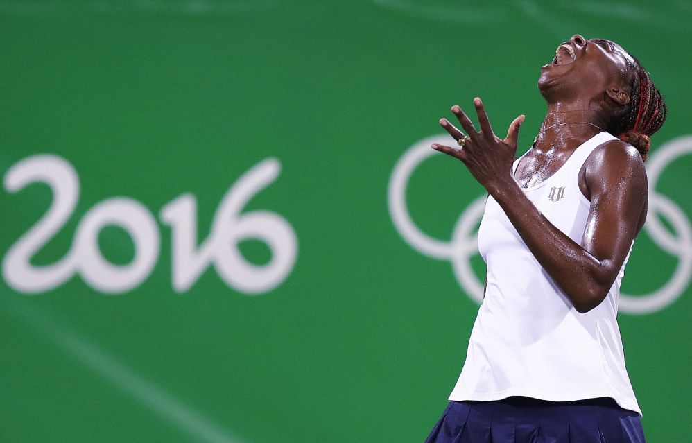 The Olympics ended early for Venus Williams, who followed her loss in the singles competition Saturday with a another defeat Sunday in doubles, along with her sister, Serena. The Williams sisters were seeking a fourth gold.
