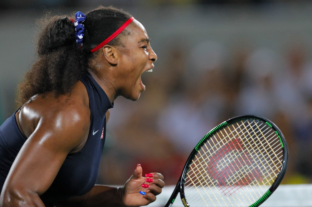 Serena Williams screams after winning a point in Monday's match against Alize Cornet of France in the women's tennis competition at the 2016 Summer Olympics