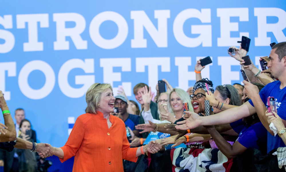 Hillary Clinton arrives Monday to speak at a rally at the Coliseum in St. Petersburg, Fla., where she said the economic plan that Donald Trump outlined earlier in Detroit would push the country back into recession. Her campaign has proposed a detailed jobs plan and cited her work in upstate New York while she was a U.S. senator, but many of the jobs that were promised there never materialized.