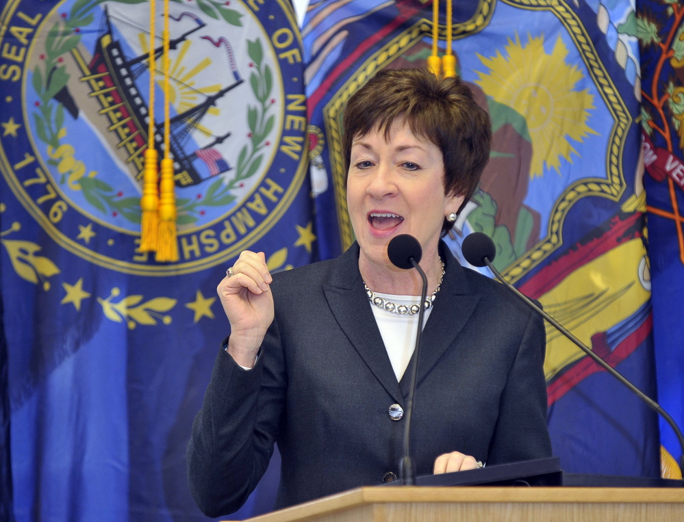 U.S. Sen. Susan Collins, R-Maine, writes in an op-ed column for The Washington Post that she can not vote for Donald Trump.