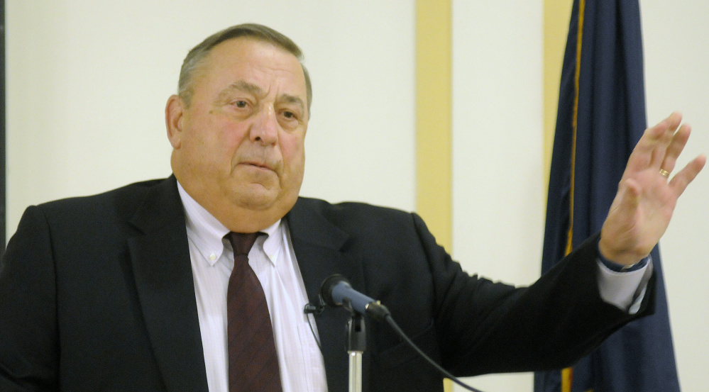 Gov. Paul LePage tells a Kennbec Valley Chamber of Commerce breakfast in Augusta on Wednesday that he plans to introduce measures to lower income taxes and raise sales taxes.