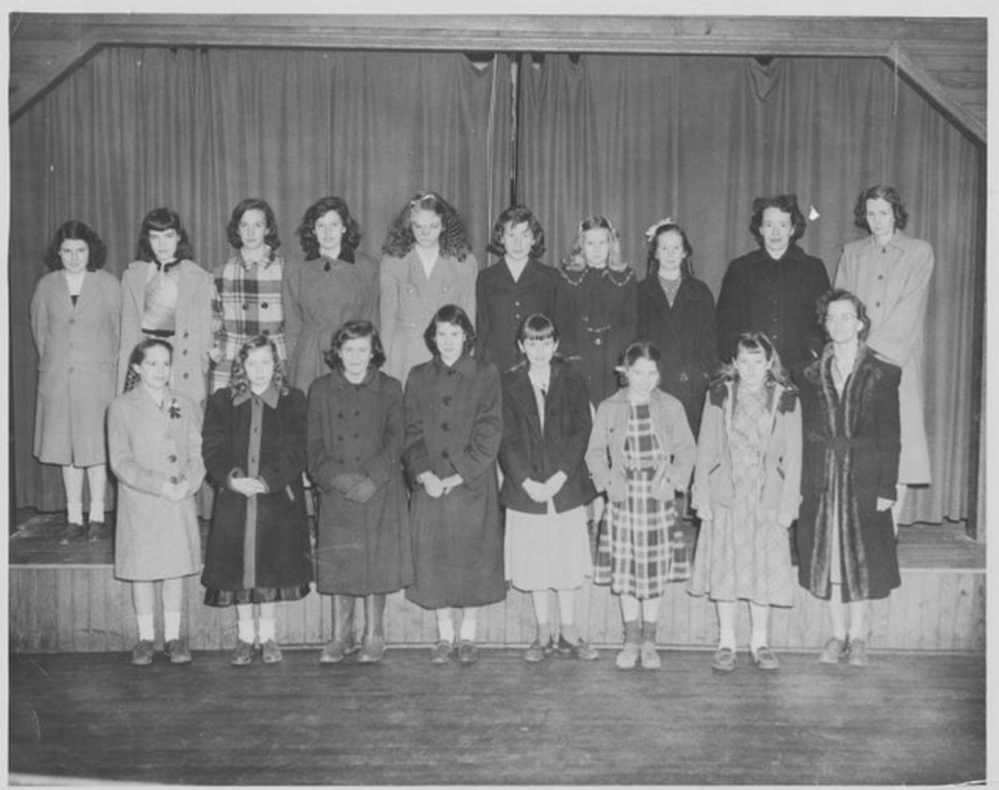 This photo of Jefferson 4-H girls with their leaders in the 1950s will be a feature of the Jefferson Historical Society's annual Open House and Exhibit Day on Saturday, Aug. 6. The photo will be a part of an exhibit on the 1950s in Jefferson and Jefferson celebrations through the years. In front, from left, are Dottie Packard, Veneta Peaslee, Trudi Hodgkins, Elwilda Bryant, Faith MacDonald, unknown, Charlotte Lermond and leader Ada Packard. In back, from left, are Jean Ogilvie, Nancy Hixon, Shirley Hallowell, Patty Jones, Connie Wilson, Gertrude Pierpont, Jean Tilton and Sheila Jackson, and leaders Nat Chamblee and Doris Tilton.