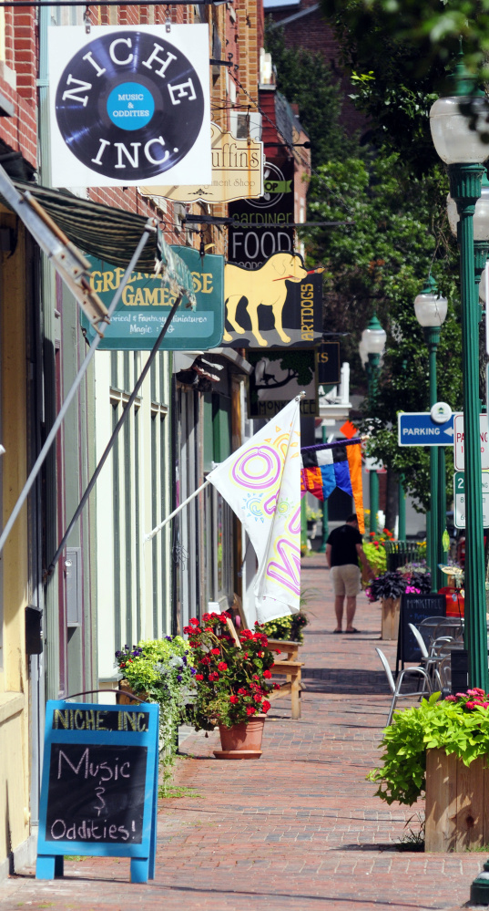 This Tuesday photo shows Water Street in downtown Gardiner, where the city has launched a program to grant revolving lines of credit to businesses to help them when business is slow.