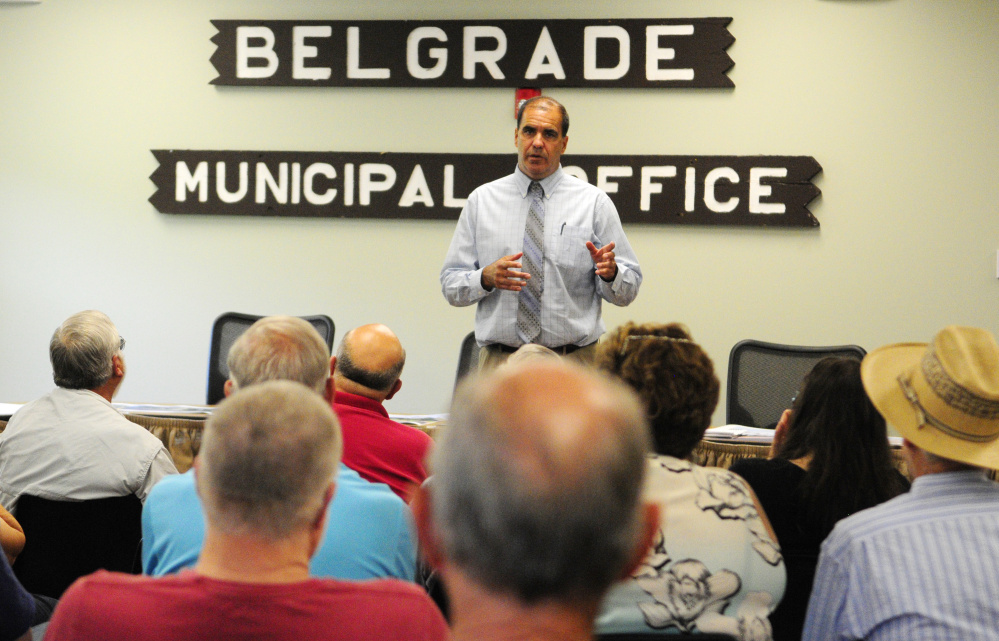 Ernest Martin, Maine Department of Transportation project manager, talks about Route 27 reconstruction during a meeting on Tuesday in Belgrade.