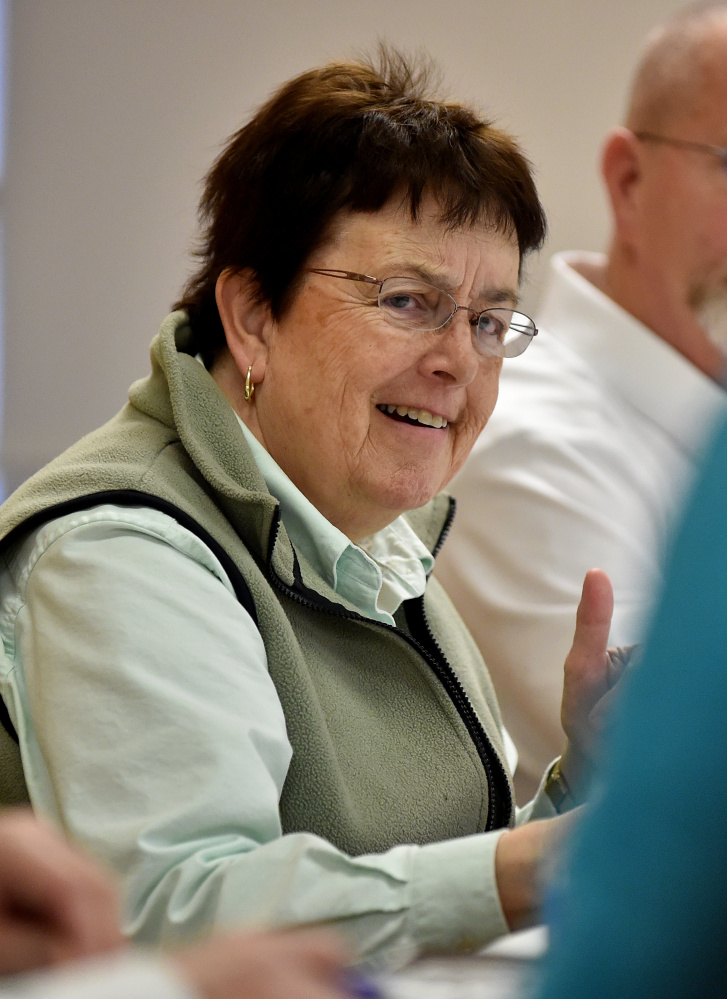 Councilor Rosemary Winslow listens during a review of budgets in March.