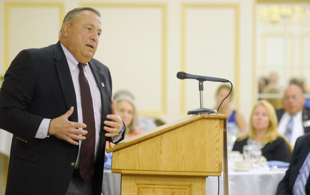 Gov. Paul LePage addresses members of the Kennebec Valley Chamber of Commerce on Wednesday in Augusta.