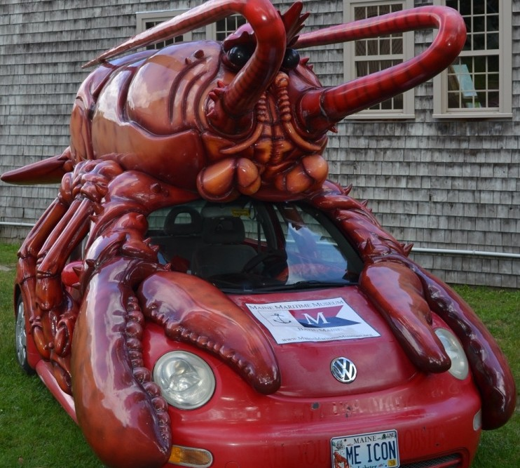 So you check the rear-view mirror, and there's a lobster on top of a Beetle on your bumper. Sounds like a 1950s horror flick. In Maine, it's another day on the coast.