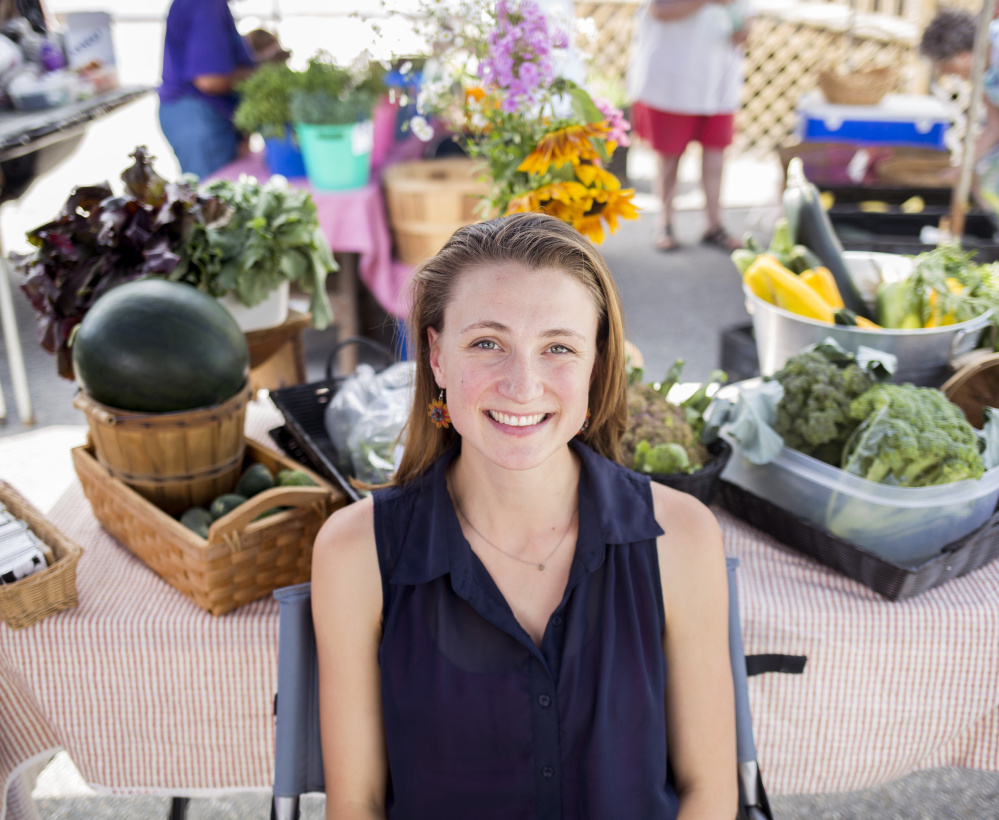 Emilie Knight visits a farmers market in Fairfield.