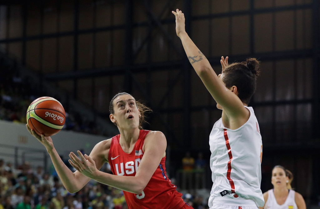U.S. forward Breanna Stewart shoots during the first half of a women's basketball game against Spain.