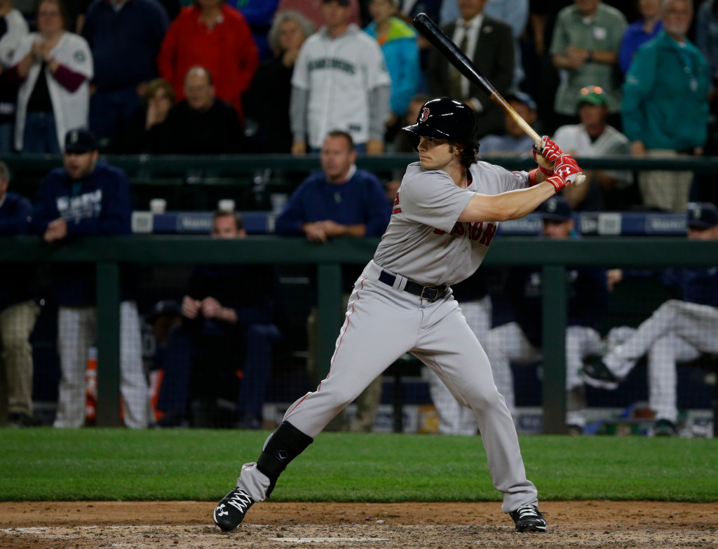 Boston Red Sox's Andrew Benintendi waits for a pitch during a Tuesday's game against the Seattle Mariners in Seattle. (AP Photo/Ted S. Warren)