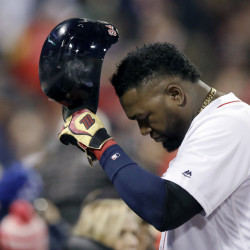 Red Sox designated hitter David Ortiz returns to the dugout after grounding out during the fourth inning in Game 3 of their American League Division Series against the Cleveland Indians on Monday in Boston.