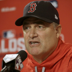 Boston Red Sox manager John Farrell speaks to the media at Fenway Park on Sunday. The Red Sox announced Farrell would return as Sox manager next season.