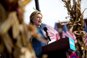 Democratic presidential candidate Hillary Clinton speaks at a rally at NewBo City Market in Cedar Rapids, Iowa. The FBI reopened its investigation into Clinton's emails Friday.