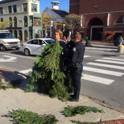 Police say Asher Woodworth of Portland was arrested after refusing officers' orders to leave the busy intersection of Congress and High streets. WCSH-TV/Ted Varipatis