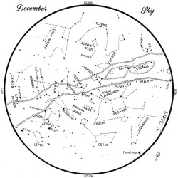 SKY GUIDE:  This chart represents the sky as it appears over Maine during December. The stars are shown as they appear at 9:30 p.m. early in the month, at 8:30 p.m. at midmonth and at 7:30 p.m. at month's end. To use the map, hold it vertically and turn it so that the direction you are facing is at the bottom.