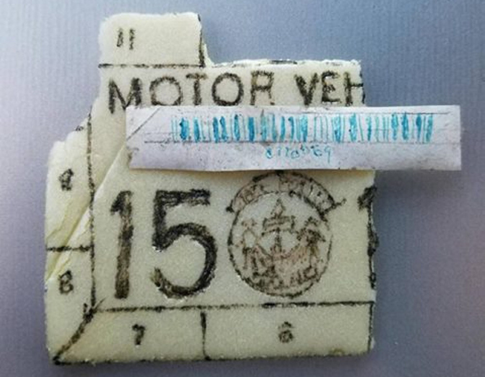 Robert Barnes, 59, of Whitefield, allegedly displayed this fake inspection sticker made of Styrofoam and was summoned by police.