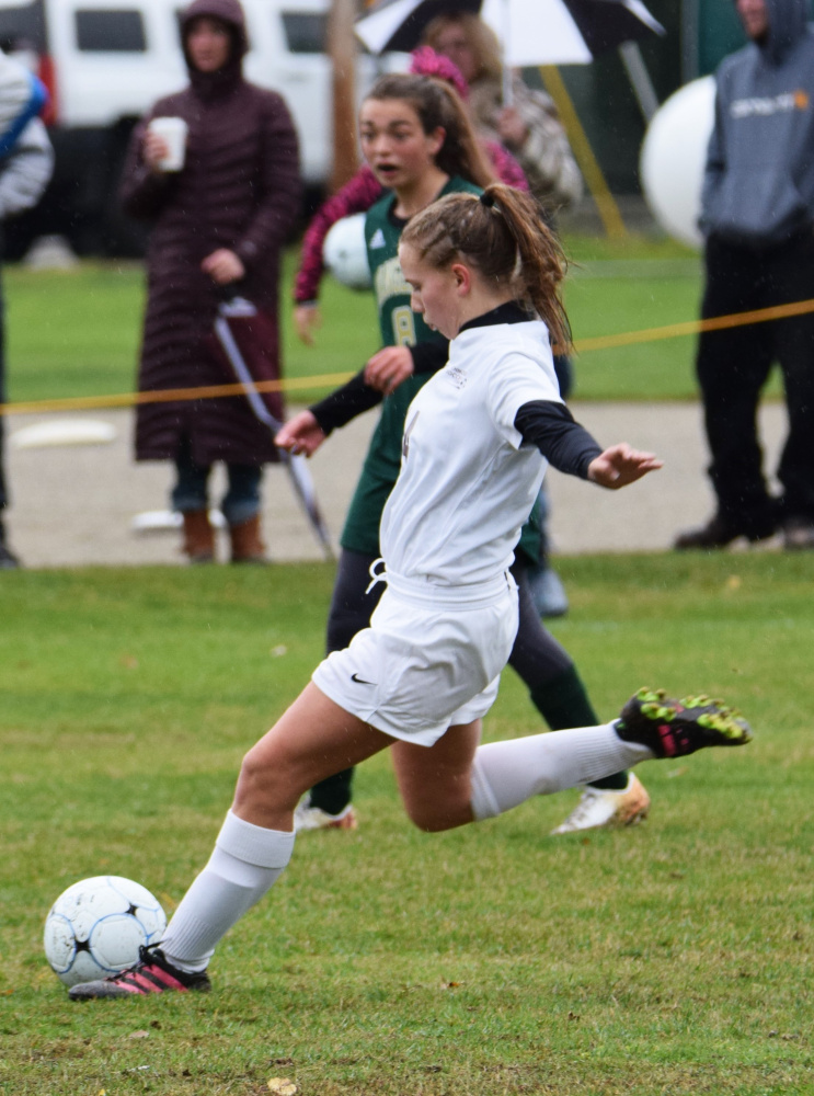 Contributed photo/Jay Brown Richmond's Caitlin Kendrick passes the ball during the D South semifinal game against Rangeley.