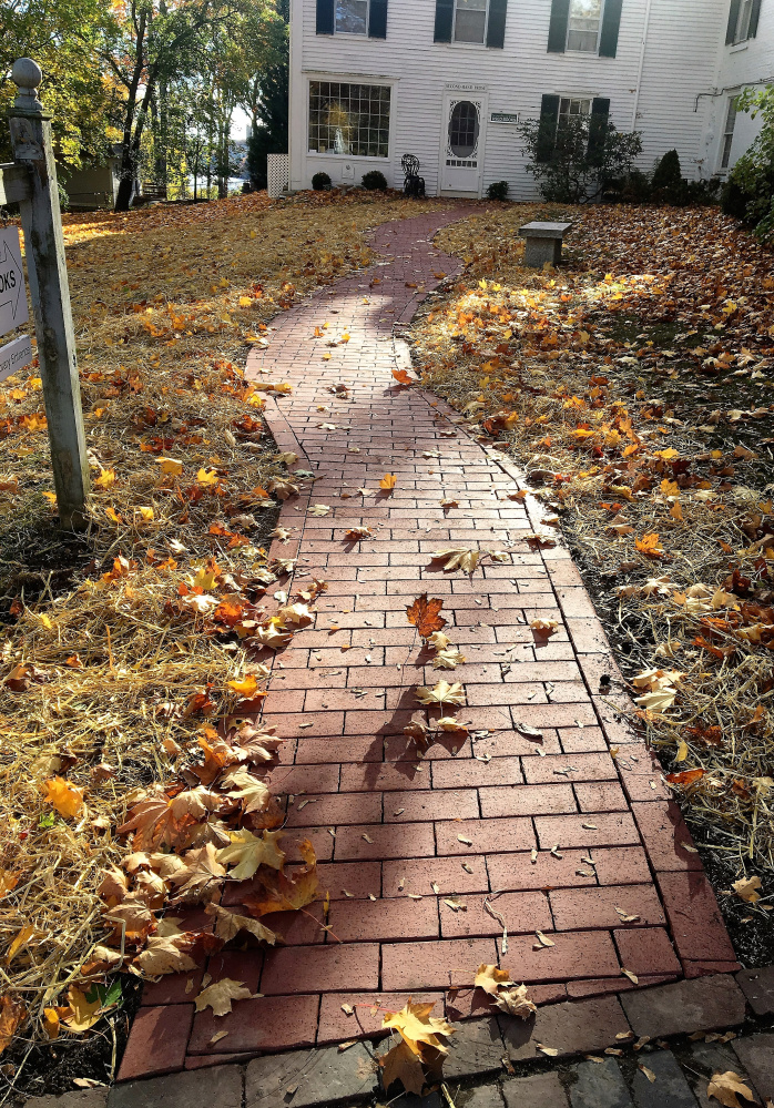 New Brick Path at Wiscasset library joins Used Book Room to sidewalk.