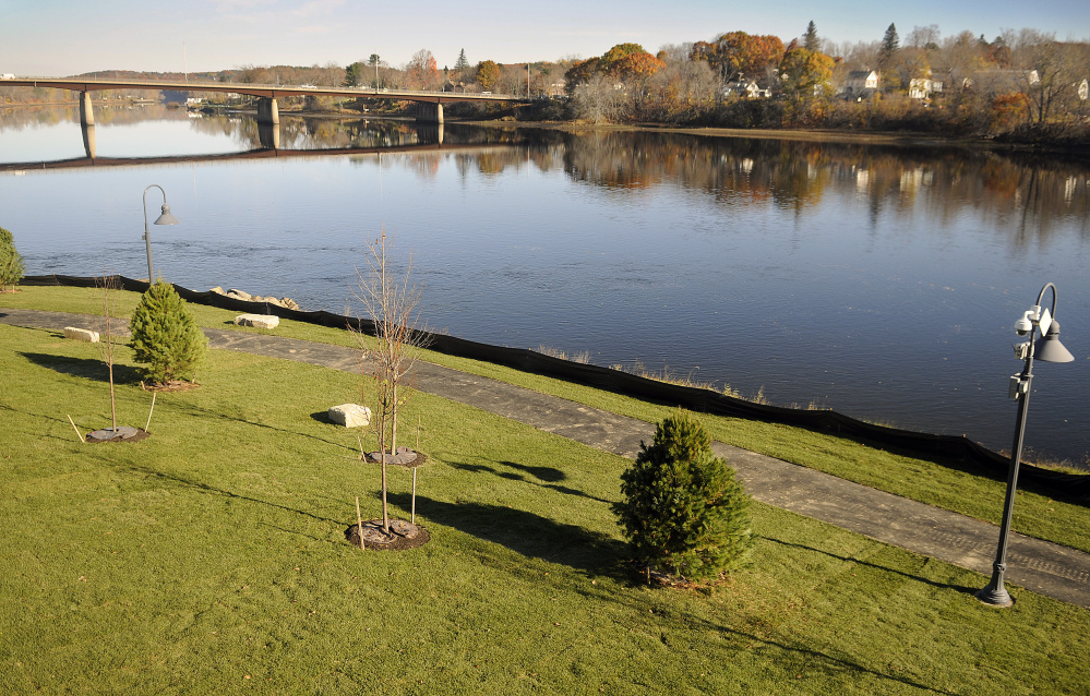 This newly landscaped lawn, seen earlier this week, is next to the Kennebec River at the sewer overflow station in Gardiner.