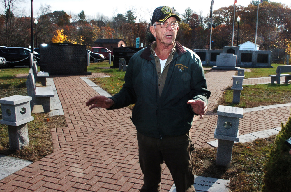 Veterans advocate Tom McCarthy Jr. speaks Wednesday about a 10-year anniversary service that will be held at the Skowhegan Veterans Park in Skowhegan.