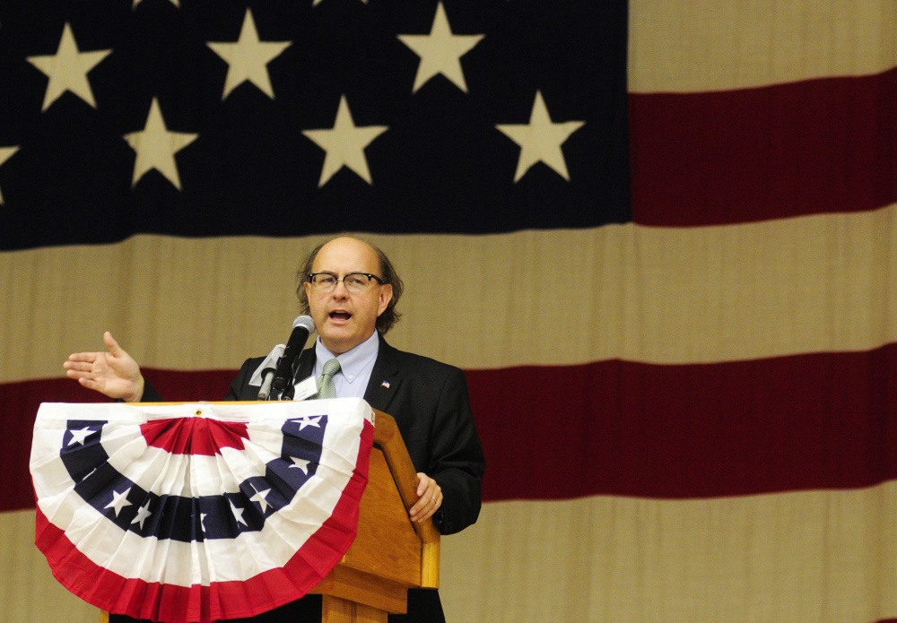 Secretary of State Matthew Dunlap speaks during the Secretary of State Office's Student Mock Election event in October at the Augusta Armory.