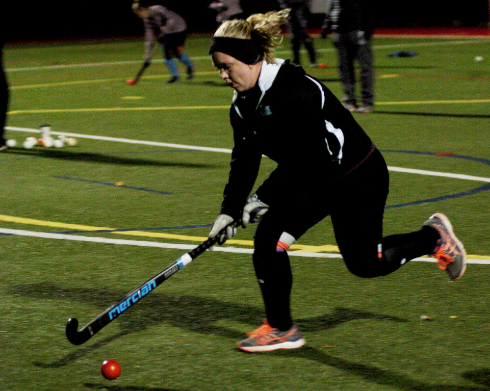 University of Maine at Farmington field hockey player Nickyia Lovely, a Gardiner graduate, practices Monday at Thomas College in Waterville. The Beavers will play the University of New England in the NCAA Division III on Wednesday.