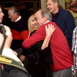 U.S. Rep. Bruce Poliquin hugs a supporter at Dysart's Restaurant and Bakery in Bangor.