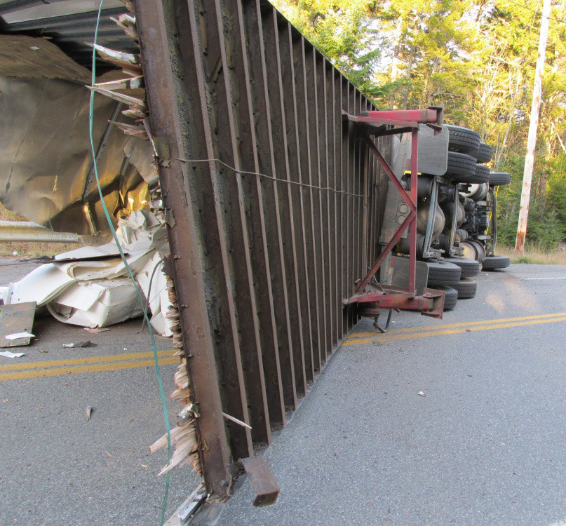 This tractor-trailer truck carrying paper rolled over Thursday morning in Coburn Gore.
