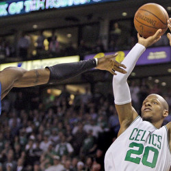 Celtics' Ray Allen goes up for a jump shot against Orlando Magic's Mickael Pietrus in Game 5 of the NBA Eastern Conference semifinal playoff series in Boston in 2009. Associated Press/Elise Amendola