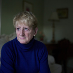 """""""I just wish that I had not voted,"""" said Teena Colebrook, 59, posing in her boyfriend's San Luis Obispo, Calif., home, where she now lives. """"I have no faith in our government anymore."""""""