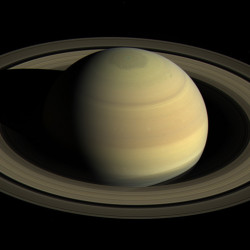 View shows Saturn's northern hemisphere. The Cassini probe will swoop down through the outer edge of the rings every seven days, making 20 dives through April.