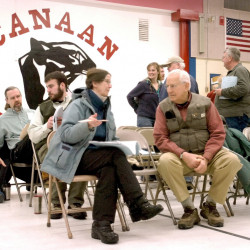 Bill Townsend, seen at a Canaan town meeting, was a common face at legislative hearings and public meetings. File photo/Jeff Pouland