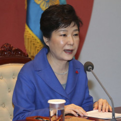 South Korean President Park Geun-hye speaks during an emergency Cabinet meeting at the presidential office in Seoul on Friday after being impeached. Baek Sung-ryul/Yonhap via AP