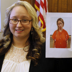 Faith Spriggs shows her jail booking photo from three years ago, in Albion, Ind. Today she's a graduate of the Noble County Drug Court and hasn't used in 32 months.