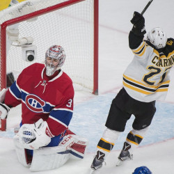 The Bruins' Austin Czarnik celebrates after scoring against Canadiens goaltender Carey Price in the second period Monday night in Montreal.