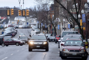 Waterville officials plan to hold a public meeting Monday to discuss a study of downtown traffic. The study includes whether Main Street downtown, seen here Thursday afternoon, should be changed from one-way traffic to two-way.