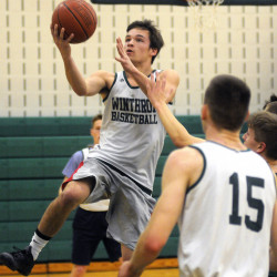 Winthrop High School guard Bennett Brooks goes up for a basket during a practice Tuesday in Winthrop.