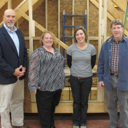 Contributed photo Brian C. Thayer Memorial Scholarship recipient Eliza Robbins, third from right, is pictured with David Gluck, left, regional director of the Northeastern Retail Lumber Association; RLDAM board member JoAnne Tarr of Lapointe Lumber in Augusta; and Don Varney, right, department chairman of the CMCC Building Construction Technology program.
