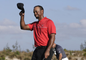 Tiger Woods walks off the 18th green during the final round at the Hero World Challenge on Sunday in Nassau, Bahamas.