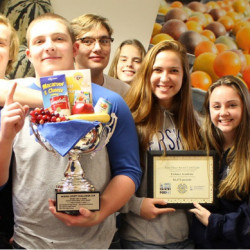 Erskine Academy students hold the School Spirit Challenge Cup, front from left, Morgan Presby, Nicole Taylor and Dylan Keller; middle, from left, Matt Stultz, Russ Sugg, Jake Peavey, Liz Sugg and Parker King, and back, from left, Scott Christainsen, Cody Daignault, Brady Studley and Chris Wight.
