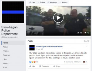 A screen shot of the Skowhegan Police Department's Facebook page, which reported being hacked after linking to a fake news story about a triple murder in town.