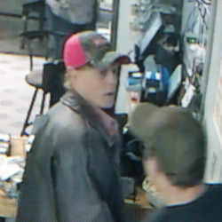 A surveillance camera image provided by the Franklin County Sheriff's Office shows a man suspected of stealing several items Saturday from the Chesterville Corner Store.