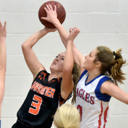 Messalonskee guard Sophie Holmes, right, blocks a shot by Gardner's Mikayla Bourassa during a Kennebec Valley Athletic Conference Class A game last season in Oakland. Holmes and Bourassa return to help lead their respective teams.